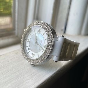Michael Kors White Mother of Pearl Pave Watch